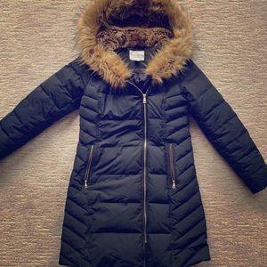 Cole Haan Signature Faux Fur Trim Hooded Coat